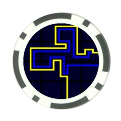Tron Light Walls Arcade Style Line Yellow Blue Poker Chip Card Guard
