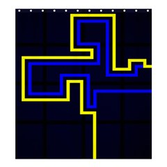 Tron Light Walls Arcade Style Line Yellow Blue Shower Curtain 66  x 72  (Large)