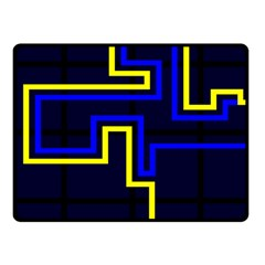 Tron Light Walls Arcade Style Line Yellow Blue Fleece Blanket (Small)