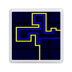 Tron Light Walls Arcade Style Line Yellow Blue Memory Card Reader (Square)