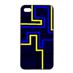 Tron Light Walls Arcade Style Line Yellow Blue Apple iPhone 4/4s Seamless Case (Black)