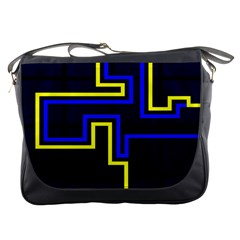 Tron Light Walls Arcade Style Line Yellow Blue Messenger Bags