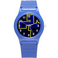 Tron Light Walls Arcade Style Line Yellow Blue Round Plastic Sport Watch (S)