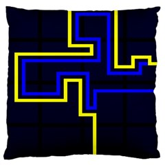 Tron Light Walls Arcade Style Line Yellow Blue Large Cushion Case (One Side)