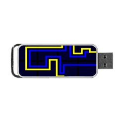 Tron Light Walls Arcade Style Line Yellow Blue Portable USB Flash (Two Sides)