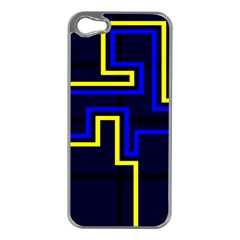 Tron Light Walls Arcade Style Line Yellow Blue Apple iPhone 5 Case (Silver)