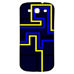 Tron Light Walls Arcade Style Line Yellow Blue Samsung Galaxy S3 S III Classic Hardshell Back Case
