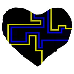 Tron Light Walls Arcade Style Line Yellow Blue Large 19  Premium Heart Shape Cushions