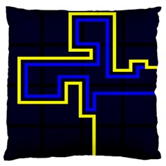 Tron Light Walls Arcade Style Line Yellow Blue Large Flano Cushion Case (One Side)