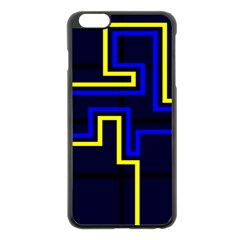 Tron Light Walls Arcade Style Line Yellow Blue Apple iPhone 6 Plus/6S Plus Black Enamel Case