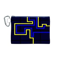 Tron Light Walls Arcade Style Line Yellow Blue Canvas Cosmetic Bag (M)