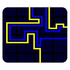 Tron Light Walls Arcade Style Line Yellow Blue Double Sided Flano Blanket (Small)