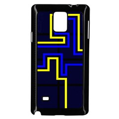 Tron Light Walls Arcade Style Line Yellow Blue Samsung Galaxy Note 4 Case (Black)