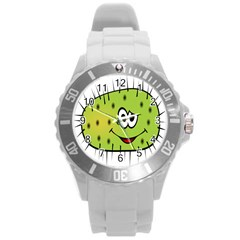 Thorn Face Mask Animals Monster Green Polka Round Plastic Sport Watch (L)