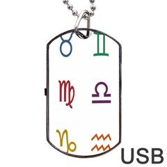 Twelve Signs Zodiac Color Star Dog Tag USB Flash (One Side)