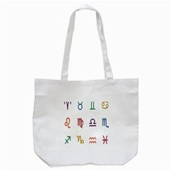 Twelve Signs Zodiac Color Star Tote Bag (White)