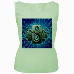 Sound System Music Disco Party Women s Green Tank Top