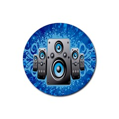 Sound System Music Disco Party Rubber Coaster (Round)