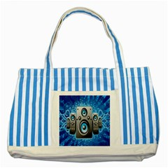 Sound System Music Disco Party Striped Blue Tote Bag