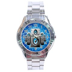 Sound System Music Disco Party Stainless Steel Analogue Watch