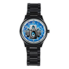 Sound System Music Disco Party Stainless Steel Round Watch