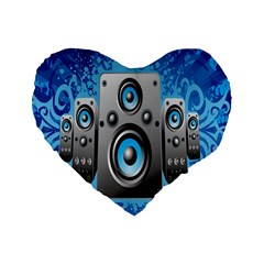 Sound System Music Disco Party Standard 16  Premium Flano Heart Shape Cushions