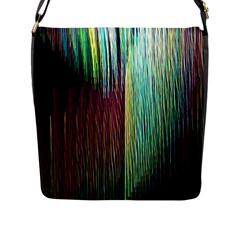 Screen Shot Line Vertical Rainbow Flap Messenger Bag (L)