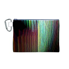 Screen Shot Line Vertical Rainbow Canvas Cosmetic Bag (M)