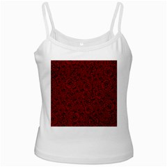 Red Roses Field White Spaghetti Tank