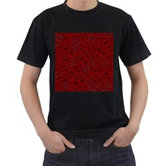 Red Roses Field Men s T-Shirt (Black) (Two Sided)