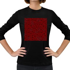 Red Roses Field Women s Long Sleeve Dark T Shirts