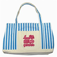 Love knows no gender Striped Blue Tote Bag