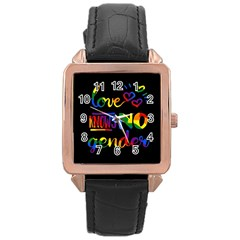 Love knows no gender Rose Gold Leather Watch