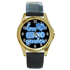 Love knows no gender Round Gold Metal Watch