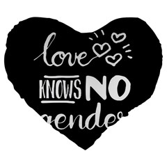 Love knows no gender Large 19  Premium Flano Heart Shape Cushions