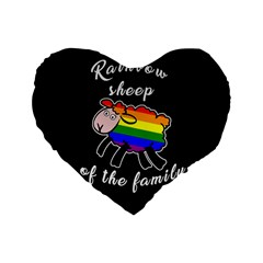 Rainbow sheep Standard 16  Premium Heart Shape Cushions