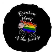 Rainbow sheep Large 18  Premium Flano Round Cushions