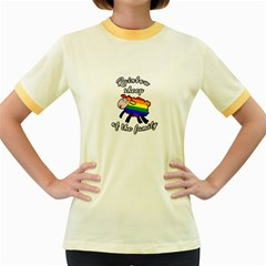Rainbow sheep Women s Fitted Ringer T-Shirts