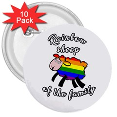 Rainbow sheep 3  Buttons (10 pack)