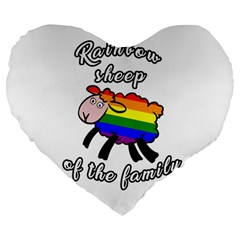 Rainbow sheep Large 19  Premium Flano Heart Shape Cushions