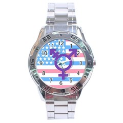 Transgender flag Stainless Steel Analogue Watch