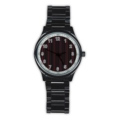 Lines pattern Stainless Steel Round Watch