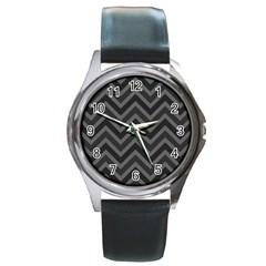 Zigzag  pattern Round Metal Watch