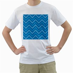 Zigzag  pattern Men s T-Shirt (White) (Two Sided)