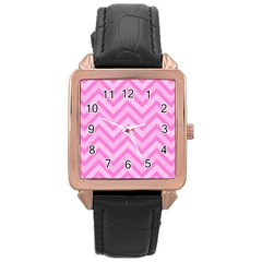 Zigzag  pattern Rose Gold Leather Watch
