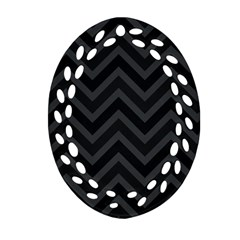 Zigzag  pattern Oval Filigree Ornament (Two Sides)