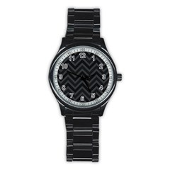 Zigzag  pattern Stainless Steel Round Watch