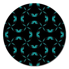 Background Black Blue Polkadot Magnet 5  (Round)