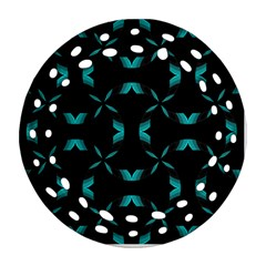 Background Black Blue Polkadot Ornament (Round Filigree)