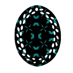Background Black Blue Polkadot Oval Filigree Ornament (Two Sides)